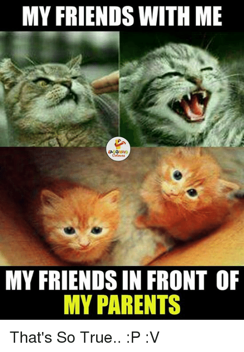 That So True: MY FRIENDS WITH ME  MY FRIENDS IN FRONT OF  MY PARENTS That's So True.. :P :V