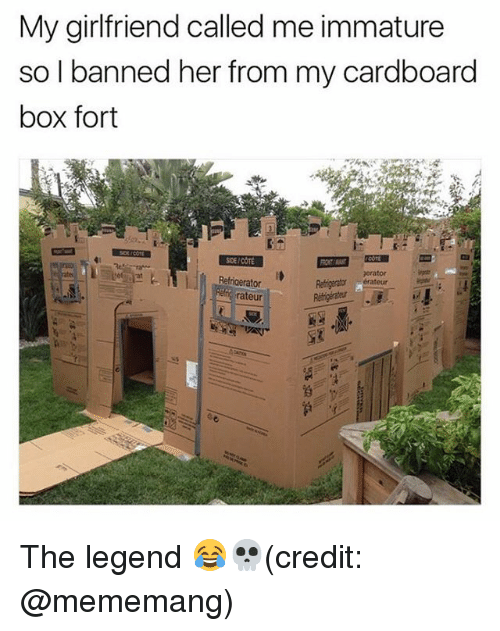 cardboard box: My girlfriend called me immature  so I banned her from my cardboard  box fort  SDE/COTE  erator  Refigerator  rateur The legend 😂💀(credit: @mememang)