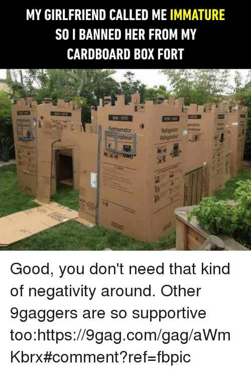 Sois: MY GIRLFRIEND CALLED ME IMMATURE  SOI BANNED HER FROM MY  CARDBOARD BOX FORT  orator  Refrigerator  Rengerator érateur  rateur Good, you don't need that kind of negativity around. Other 9gaggers are so supportive too:https://9gag.com/gag/aWmKbrx#comment?ref=fbpic