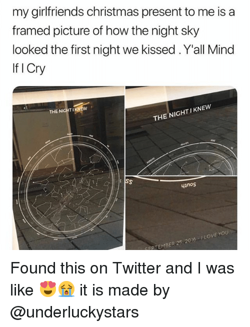 Christmas, Love, and Twitter: my girlfriends christmas present to me is a  framed picture of how the night sky  looked the first night we kissed . Y'all Mind  If I Cry  THE NIGHTIK  THE NIGHT I KNEW  inos  SEPTEMBER 25, 2016 LOVE YOU Found this on Twitter and I was like 😍😭 it is made by @underluckystars