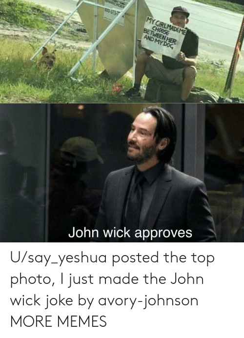 Approves: MY GIRLMADEME  CHOOSE  BETWEEN HER  AND MY DOG  W-3737  John wick approves U/say_yeshua posted the top photo, I just made the John wick joke by avory-johnson MORE MEMES