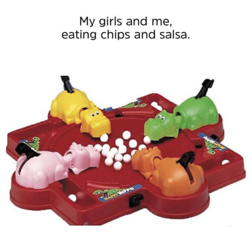 Girls And Me: My girls and me,  eating chips and salsa.