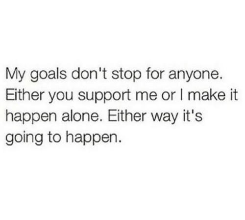 My Goals: My goals don't stop for anyone.  Either you support me or I make it  happen alone. Either way it's  going to happen.