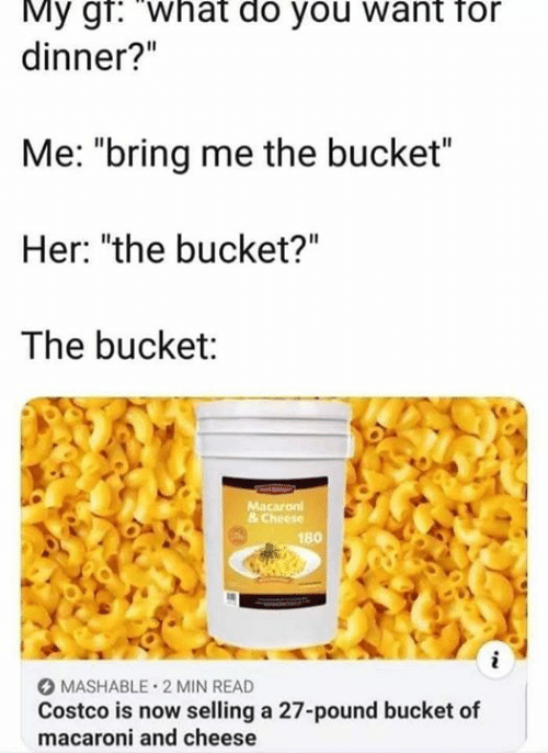 """Costco, Her, and Cheese: My gr: What do you want for  dinner?""""  Me: """"bring me the bucket""""  Her: """"the bucket?""""  The bucket:  Macaron  & Cheese  180  i  MASHABLE 2 MIN READ  Costco is now selling a 27-pound bucket of  macaroni and cheese"""