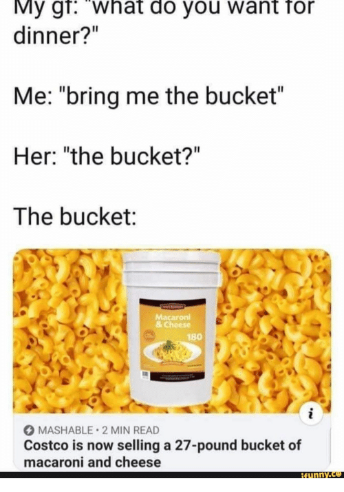 "Costco, Her, and Cheese: My gr: what do you want for  dinner?""  Me: ""bring me the bucket""  Her: ""the bucket?""  The bucket:  Macaroni  &Cheese  180  i  MASHABLE 2 MIN READ  Costco is now selling a 27-pound bucket of  macaroni and cheese  ifynny.co"