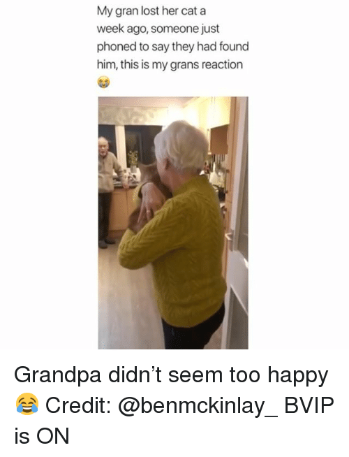 Memes, Lost, and Grandpa: My gran lost her cat a  week ago, someone just  phoned to say they had found  him, this is my grans reaction Grandpa didn't seem too happy 😂 Credit: @benmckinlay_ BVIP is ON