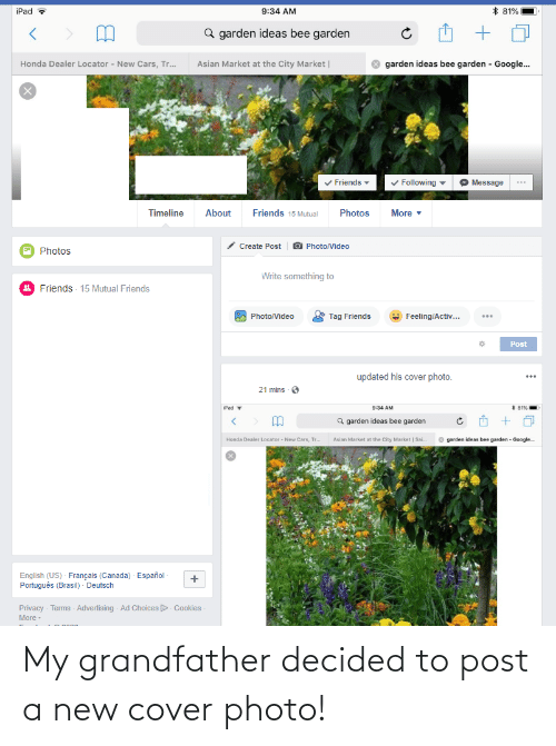 cover photo: My grandfather decided to post a new cover photo!