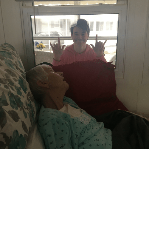 Indoors: My grandmother died last night from ALS. This was the last moment I had with her. I wasn't able to see her for months due to recent events. Please stay indoors guys.