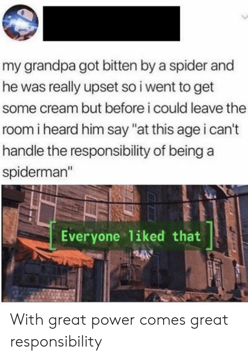 """bitten: my grandpa got bitten by a spider and  he was really upset so i went to get  some cream but before i could leave the  room i heard him say """"at this age i can't  handle the responsibility of being  spiderman""""  Everyone liked that With great power comes great responsibility"""