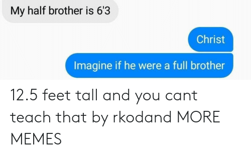 Heing: My half brother is 63  Christ  Imagine if he were a full brother 12.5 feet tall and you cant teach that by rkodand MORE MEMES