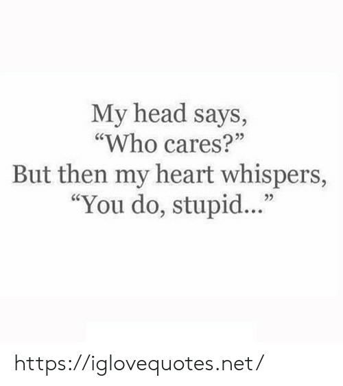 "Cares: My head says,  ""Who cares?""  But then my heart whispers,  ""You do, stupid..."" https://iglovequotes.net/"