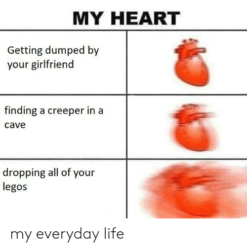 getting dumped: MY HEART  Getting dumped by  your girlfriend  finding a creeper in a  cave  dropping all of your  legos my everyday life