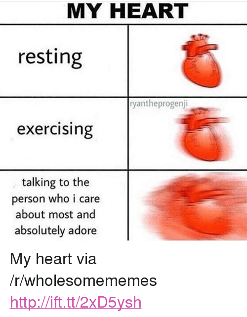 "Heart, Http, and Who: MY HEART  resting  yantheprogenj  exercising  talking to the  person who i care  about most and  absolutely adore <p>My heart via /r/wholesomememes <a href=""http://ift.tt/2xD5ysh"">http://ift.tt/2xD5ysh</a></p>"