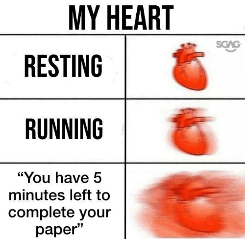 """Heart, Running, and You: MY HEART  SGAG  RESTING  RUNNING  """"You have 5  minutes left to  complete your  раper"""""""