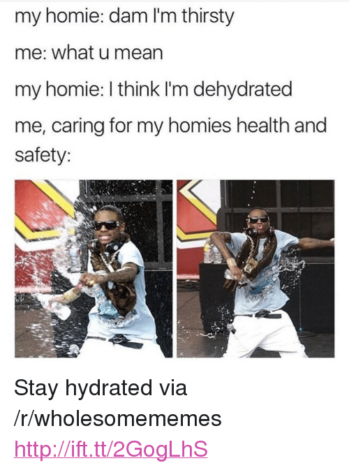 "Homie, Thirsty, and Http: my homie: dam I'm thirsty  me: what u mearn  my homie: I think I'm dehydrated  me, caring for my homies health and  safety: <p>Stay hydrated via /r/wholesomememes <a href=""http://ift.tt/2GogLhS"">http://ift.tt/2GogLhS</a></p>"