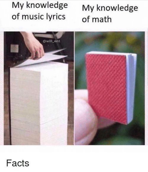 Facts, Memes, and Music: My knowledge  of music lyrics  My knowledge  of math  @will_ent Facts