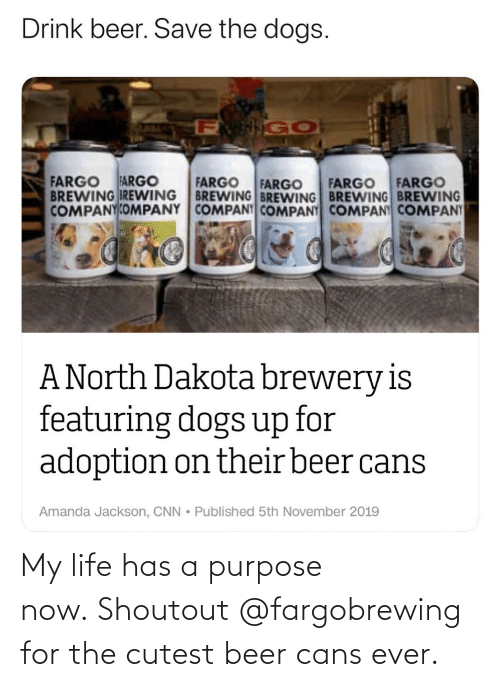 Beer: My life has a purpose now. Shoutout @fargobrewing for the cutest beer cans ever.