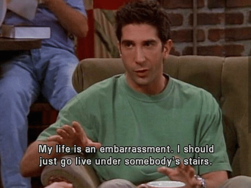 embarrassment: My life is an embarrassment. l should  just go live under somebody's stairs