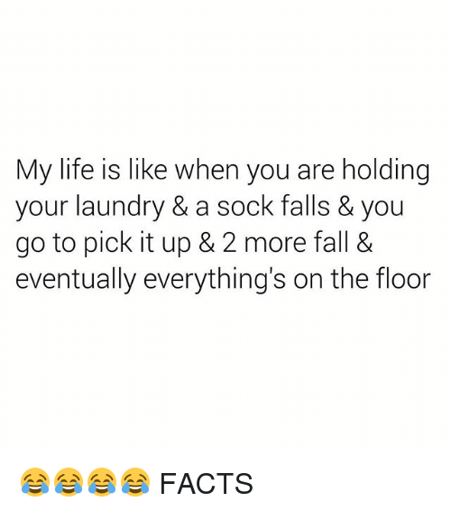 Facts, Fall, and Laundry: My life is like when you are holding  your laundry & a sock falls & you  go to pick it up & 2 more fall &  eventually everything's on the floor 😂😂😂😂 FACTS