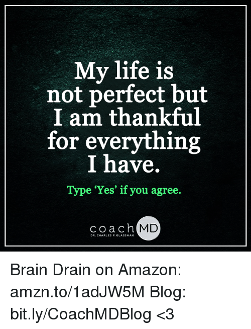 brain drain: My life is  not perfect but  I am thankful  for everything  I have  Type 'Yes' if you agree  coach MD  DR. CHARLES F. GLASSMAN Brain Drain on Amazon: amzn.to/1adJW5M Blog: bit.ly/CoachMDBlog  <3