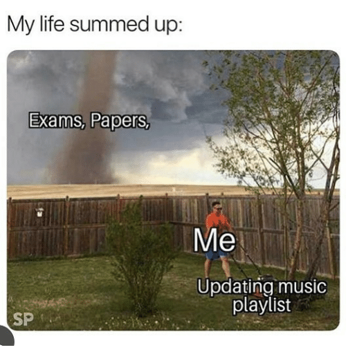 Life, Music, and  My Life: My life summed up:  Exams, Papers,  Me  Updating music  playlist  SP