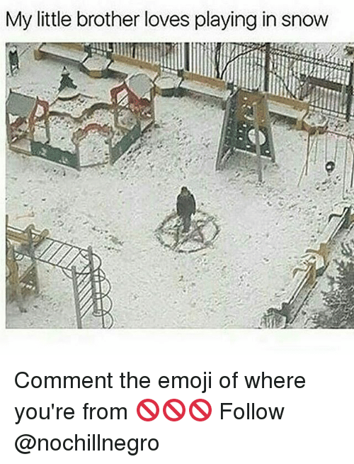 The Emojis: My little brother loves playing in snow Comment the emoji of where you're from 🚫🚫🚫 Follow @nochillnegro