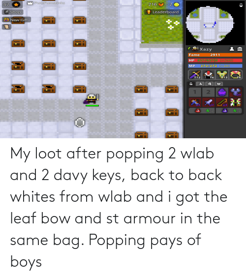 Back to Back: My loot after popping 2 wlab and 2 davy keys, back to back whites from wlab and i got the leaf bow and st armour in the same bag. Popping pays of boys