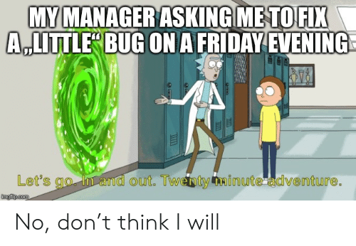 evening: MY MANAGER ASKING METO FIX  A,LITTLE BUG ON A FRIDAY EVENING  Let's go n and out. Twenty Ainute adventure.  imgilip.com No, don't think I will