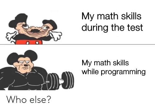 Test: My math skills  during the test  My math skills  while programming Who else?