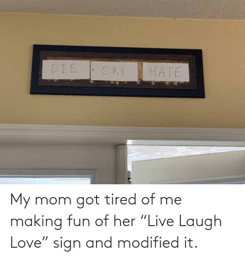 "making fun: My mom got tired of me making fun of her ""Live Laugh Love"" sign and modified it."