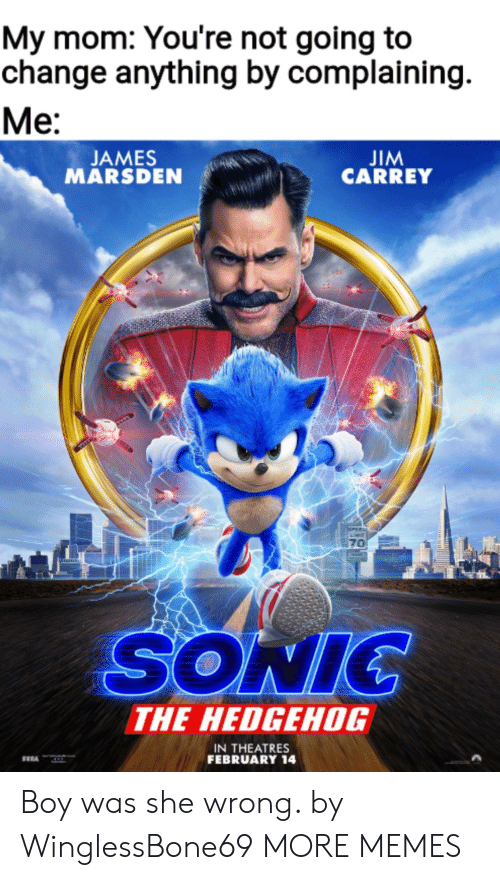 complaining: My mom: You're not going to  change anything by complaining  Ме:  JIM  CARREY  JAMES  MARSDEN  PEE  70  SONIC  THE HEDGEHOG  IN THEATRES  FEBRUARY 14 Boy was she wrong. by WinglessBone69 MORE MEMES