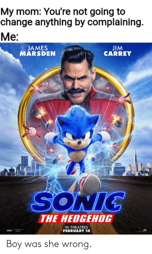 complaining: My mom: You're not going to  change anything by complaining  Ме:  JIM  CARREY  JAMES  MARSDEN  PEE  70  SONIC  THE HEDGEHOG  IN THEATRES  FEBRUARY 14 Boy was she wrong.