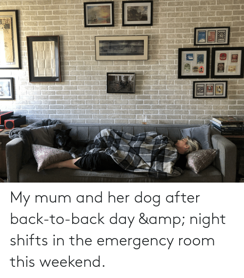 Back to Back: My mum and her dog after back-to-back day & night shifts in the emergency room this weekend.