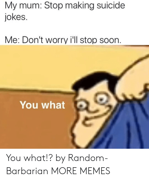 Mum: My mum: Stop making suicide  jokes.  Me: Don't worry i'll stop soon.  You what You what!? by Random-Barbarian MORE MEMES