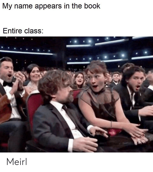 Book, MeIRL, and Class: My name appears in the book  Entire class: Meirl
