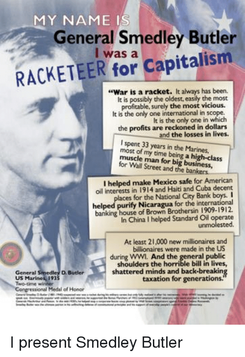 smedley butler uncovers the profit motives in the course of a war