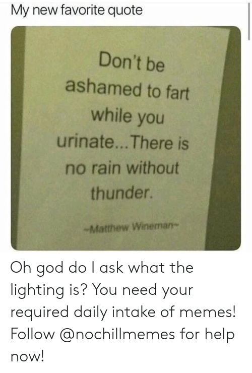 God, Memes, and Help: My new favorite quote  Don't be  ashamed to fart  while you  urinate... There is  no rain without  thunder.  -Matthew Wineman- Oh god do I ask what the lighting is?  You need your required daily intake of memes! Follow @nochillmemes for help now!