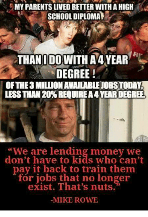 """Rowing: MY PARENTS LIVED BETTER WITH A HIGH  SCHOOL DIPLOMA  THANIDOWITH A 4YEAR  DEGREE!  OFTHE3 MILLION AVAILABLEJOBS TODAY  LESS THAN 20% REQUIRE A 4 YEAR DEGREE  """"We are lending money we  don't have to kids who can't  pay it back to train them  for jobs that no longer  exist. That's nuts.  MIKE ROW"""