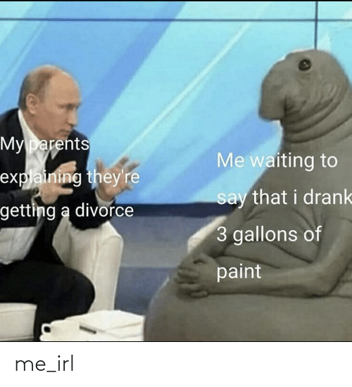 drank: My parents  Me waiting to  explaining they're  say that i drank  getting a divorce  3 gallons of  paint me_irl