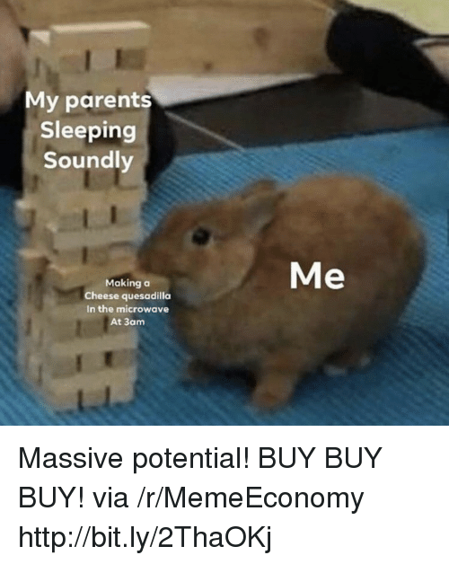 Parents, Http, and Sleeping: My parents  Sleeping  Soundly  Me  Making o  Cheese quesadilla  In the microwave  At 3am Massive potential! BUY BUY BUY! via /r/MemeEconomy http://bit.ly/2ThaOKj