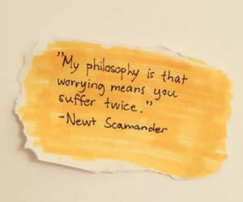 """Philosophy, Means, and Newt: """"My philosophy is thah  worying means you  suffer twice.""""  Newt Scamander"""