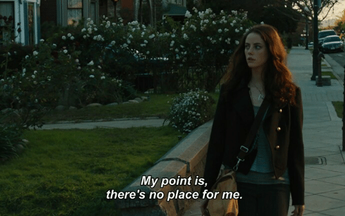 For,  No, and  Place: My point is,  there's no place for me.