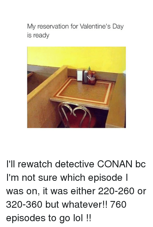 detective conan: My reservation for Valentine's Day  is ready I'll rewatch detective CONAN bc I'm not sure which episode I was on, it was either 220-260 or 320-360 but whatever!! 760 episodes to go lol !!