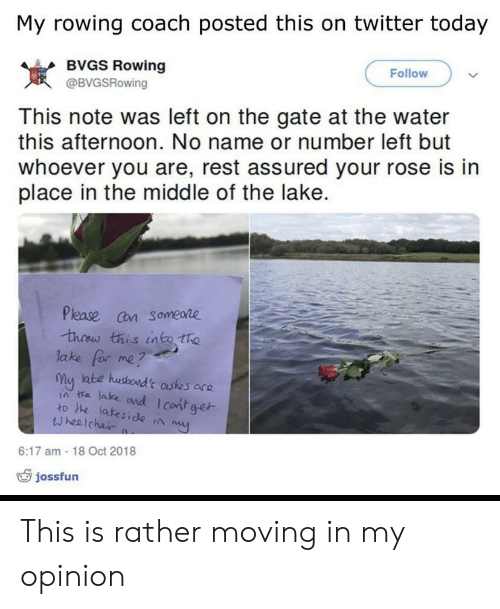 moving in: My rowing coach posted this on twitter today  BVGS Rowing  Follow  岌  This note was left on the gate at the water  this afternoon. No name or number left but  whoever you are, rest assured your rose is in  place in the middle of the lake.  @BVGSRowing  Please cn someare  lake for me?  my ate husboad't astes are  ia ta lake and I cont ge  ro he lakeside ta  wheelchai  6:17 am -18 Oct 2018  jossfun This is rather moving in my opinion
