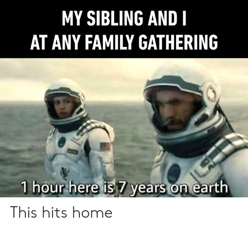 gathering: MY SIBLING AND I  AT ANY FAMILY GATHERING  1 hour here is 7 years on earth This hits home