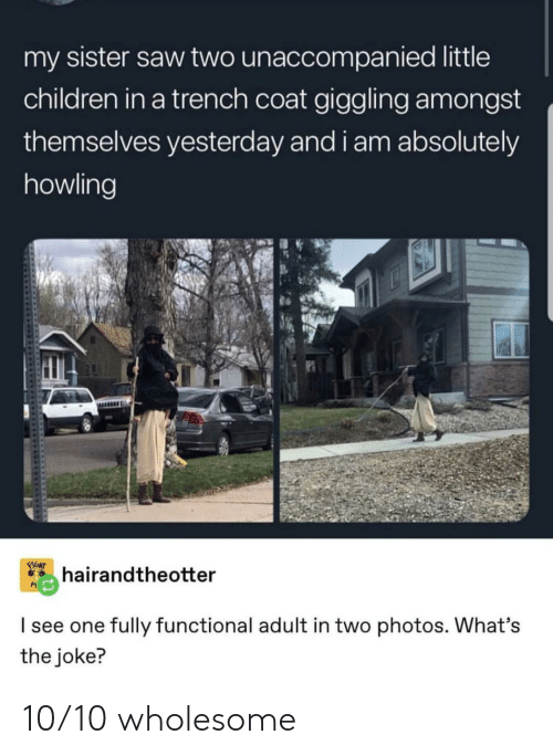 The Joke: my sister saw two unaccompanied little  children in a trench coat giggling amongst  themselves yesterday and i am absolutely  howling  FIGHT  hairandtheotter  I see one fully functional adult in two photos. What's  the joke? 10/10 wholesome