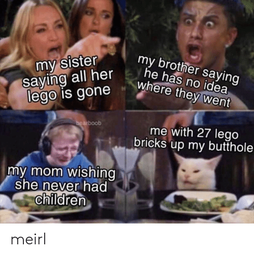 Children, Lego, and Never: my sister  saying all her  lego is gone  my brother saying  he has no idea  where they went  bearboob  me with 27 lego  bricks up my butthole  my mom wishing  she never had  children meirl
