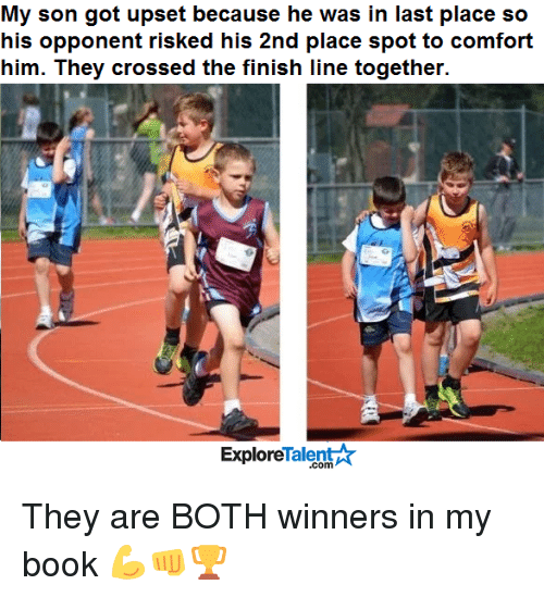 talent explore: My son got upset because he was in last place so  his opponent risked his 2nd place spot to comfort  him. They crossed the finish line together.  Talent  Explore They are BOTH winners in my book 💪👊🏆