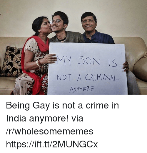 Crime, India, and Gay: MY SON IS  NOT A CRIMINAL  ANYMORE Being Gay is not a crime in India anymore! via /r/wholesomememes https://ift.tt/2MUNGCx