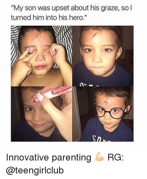 """Grazing: """"My son was upset about his graze, so l  turned him into his hero."""" Innovative parenting 💪🏼 RG: @teengirlclub"""